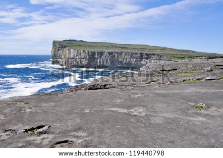 Cliffs near Dun Aengus, Inishmore, Aran islands in Ireland - stock photo