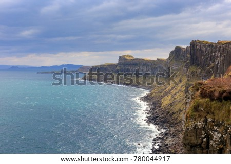 Cliffs near Kilt rock waterfall, Isle Of Skye, the Inner Hebrides of Scotland, United Kingdom (UK).
