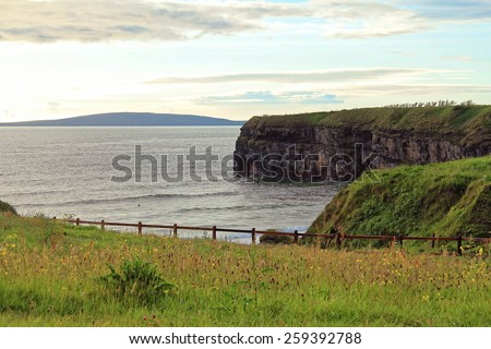 Cliffs of Ballybunion on the wild atlantic way in county Kerry Ireland - stock photo