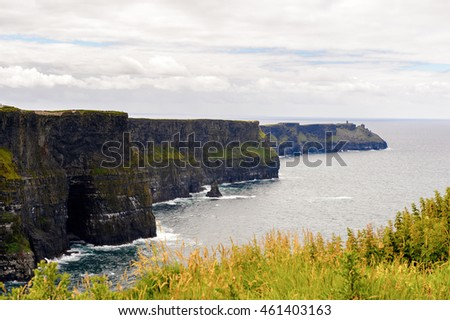 Cliffs of Moher (Aillte an Mhothair), edge of the Burren region in County Clare, Ireland. Great touristic attraction