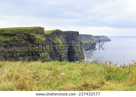 Cliffs of Moher and Atlantic Ocean. Most famous landmark in Ireland.