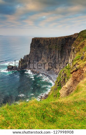 Cliffs of Moher at sunset, Co. Clare, Ireland - stock photo