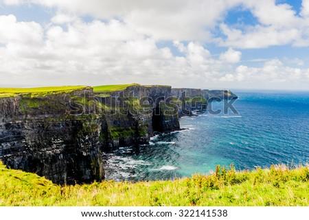 Cliffs of Moher, Burren region, County Clare, Ireland  - stock photo