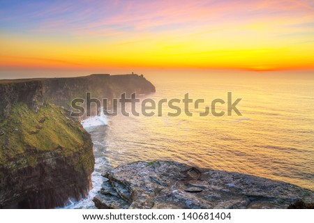 Cliffs of Moher in Co. Clare at sunset, Ireland - stock photo