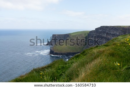 Cliffs of Moher in South Western Ireland in Burren Region of County Clare - stock photo