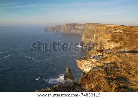 Cliffs of Moher in west Ireland - stock photo