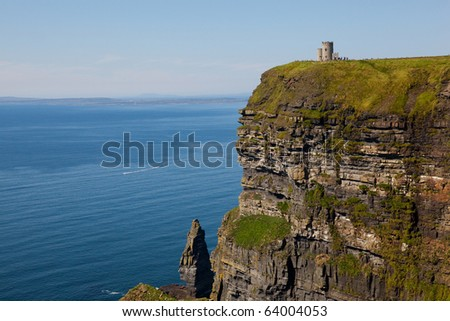Cliffs of Moher with Blue Sky in County Clare, Ireland - stock photo