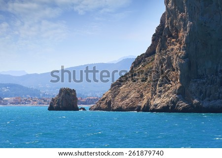Cliffs of the Cabo San Antonio in the north coast of Alicante, Spain. - stock photo