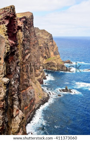 Cliffs of volcanic origin in Eastern Madeira, Portugal - stock photo