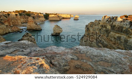 Cliffs on the Algarve in Portugal before sunset