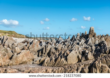 Cliffs on the beach near Plouhinec, Finistere department of Brittany (France)