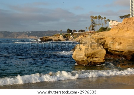 Cliffs on the California coastline in La Jolla San Diego - stock photo
