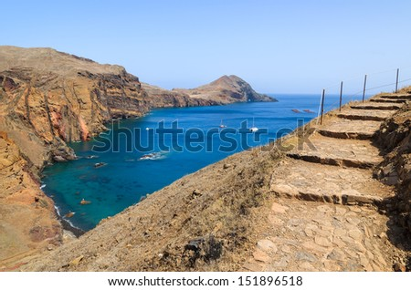 Cliffs rocks and ocean bay beach view from trekking trail on Punta de Sao Lourenco peninsula, Madeira island, Portugal - stock photo