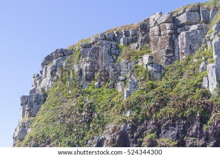 Cliffs with blue sky in background at Torres, Rio Grande do Sul.