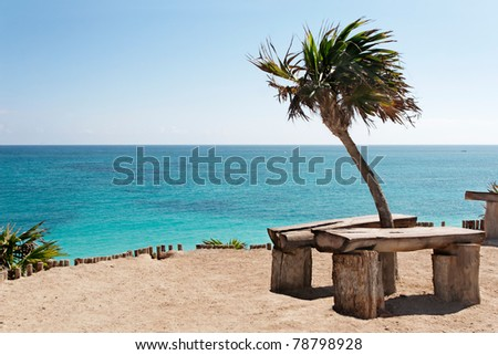 Clifftop benches overlooking the Caribbean