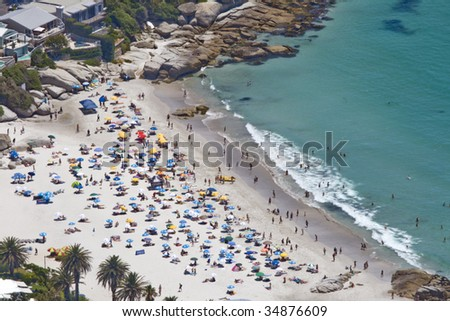 Clifton's 4th beach near Cape Town, South Africa, a favourite holiday and tourism attraction and destination. - stock photo