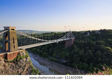 Clifton suspension bridge and Balloon Fiesta, Bristol, UK - stock photo