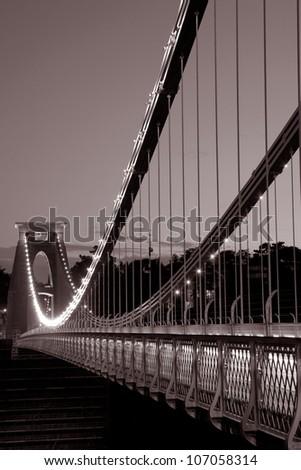 Clifton Suspension Bridge by Brunel, Illuminated at Night, England, UK - stock photo
