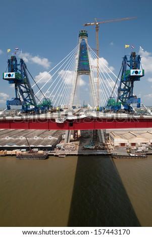 Clifton suspension bridge Thailand - stock photo