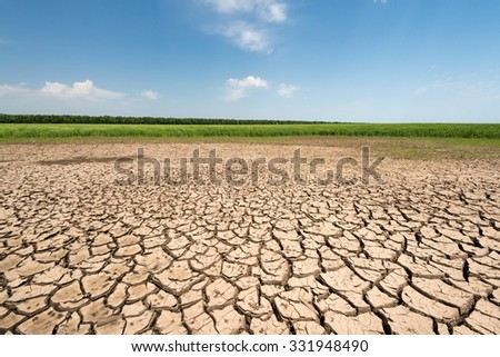 Climate change, the ground is dry, drought, cracked ground