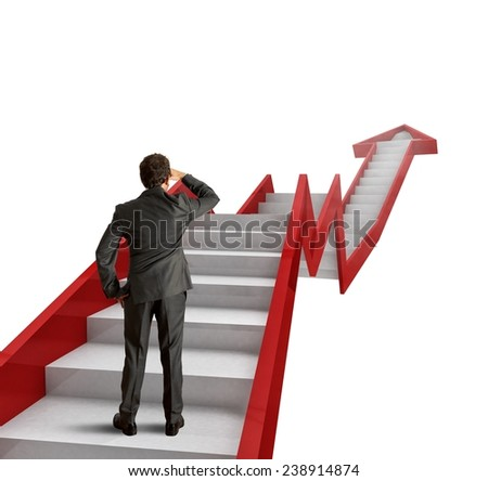 Climb the ladder of statistics to success - stock photo