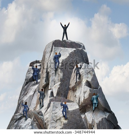 Climb to the top career business concept as a group of businesspeople climbing a rock mountain with one individual leader reaching the summit or peak as a success metaphor. - stock photo