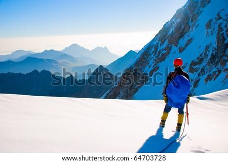 Climber in beautifully mountain - stock photo