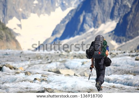 Climber on Mer de Glace glacier, Chamonix - France - stock photo