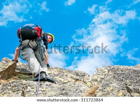 Climber on the mountains - stock photo