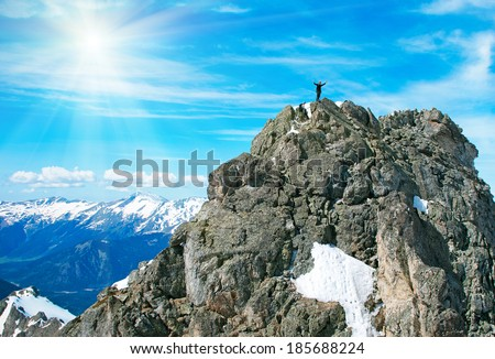 Climber on the rock mountains