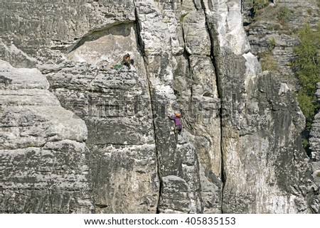 Climber on the rock surface