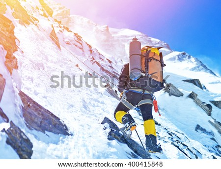 Climber on the snowy mountains