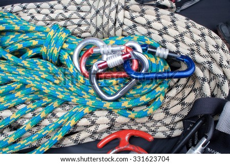 climber set on ropes - stock photo