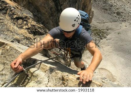 Climber with helmet - stock photo