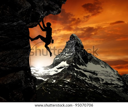 climbers in the Swiss Alps - stock photo