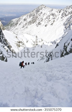 Climbers in winter Tatra mountains. Poland