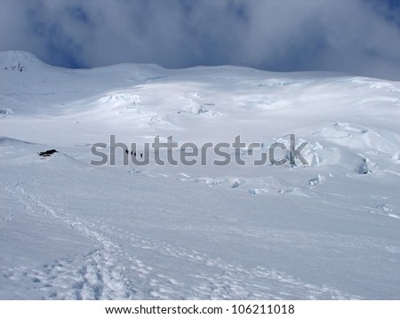 Climbers on crown prince Olav�´s glacier, Jan Mayen