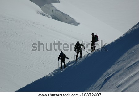 Climbers on Mt Blanc, France - stock photo