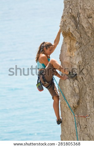 Climbers on the route - stock photo