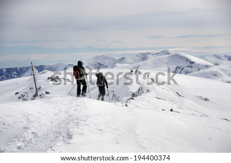 Climbers on the snowy mountain