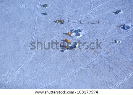 Climbers to Mont Blanc resting in tents (near France - Italy border) - stock photo