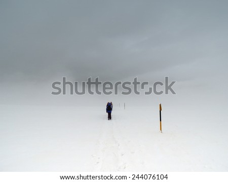Climbers Under Extreme Weather Condition           - stock photo