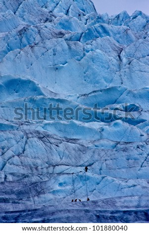Climbing Alaska's Mendenhall Glacier - stock photo