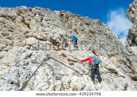 climbing an hiking in the rocks - stock photo