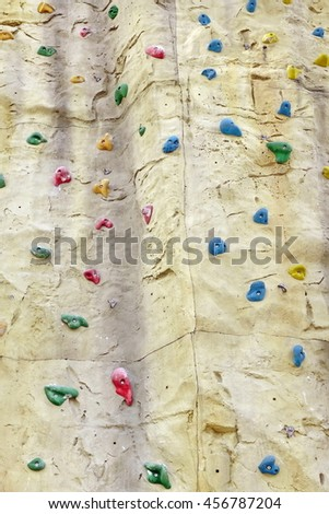 Climbing Artificial Wall Background Texture, Close Up - stock photo