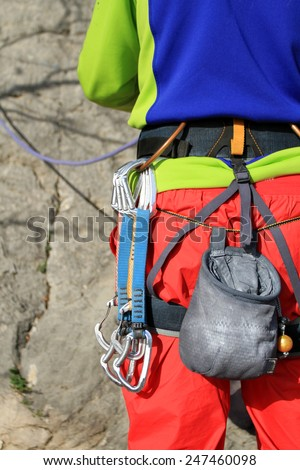 Climbing equipment. - stock photo