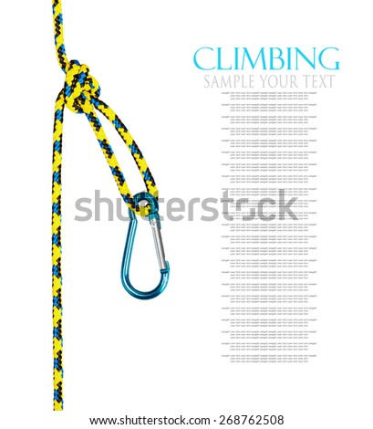 Climbing equipment isolated on white background. Text for example, and can be easily removed - stock photo