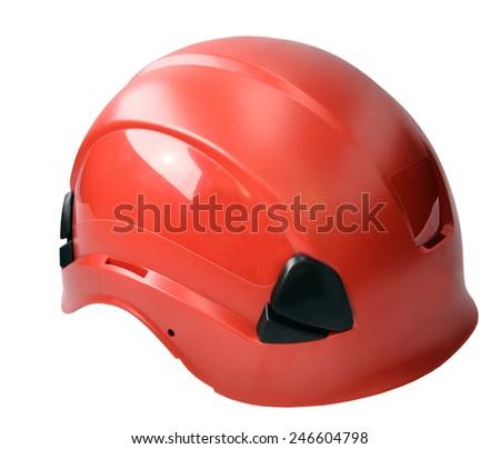 climbing helmet equipment isolated on white background - stock photo