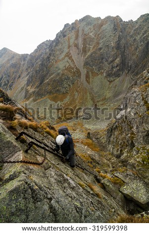 Climbing in the Tatra Mountains, Poland. - stock photo