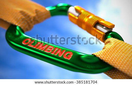 Climbing on Green Carabine with Orange Ropes. Focus on the Carabine. 3D Render. - stock photo